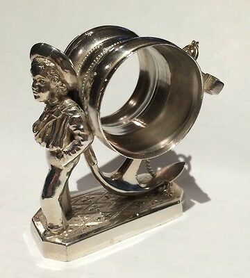 Antique Silverplate Figural Napkin Ring Sailor Boy with Anchor Simpson Hall ...