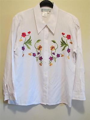 Vtg 80s Fred David Embroidered Flower WHITE button DRESS SHIRT Blouse Top M L