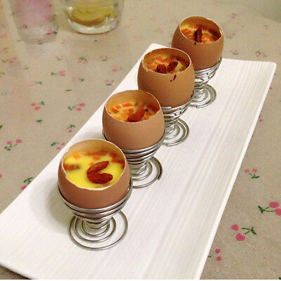 Hot   Stainelss Steel Spring Wire Tray Egg Cup Boiled Eggs Holder Stand Storage