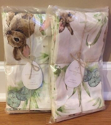 NEW 8PC Pottery Barn Pasture Bunny Napkins EASTER