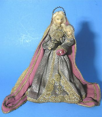 1949 Margarite Uebel Wax Doll Madonna and Christ Child Virgin Mary Jesus Germany
