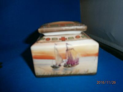 Antique Hand Painted Complete Nippon Inkwell Boat Design