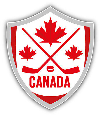 Canada Hockey Shield Car Bumper Sticker Decal 4'' x 5''
