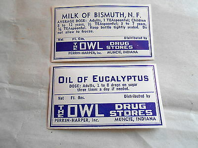 2 Vintage Owl Drug Store Muncie Indiana Unused Gummed Medcine Labels