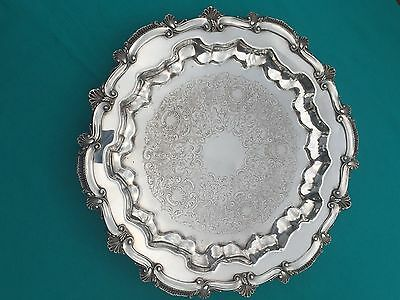 Silverplate Tray CHIPPENDALE Pattern WS Blackinton Footed Platter with Shell Rim