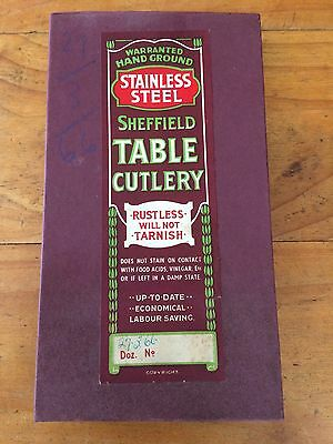 VINTAGE 1966 x6 SHEFFIELD STAINLESS STEEL SERRATED KNIFE KNIVES IN ORIGINAL BOX
