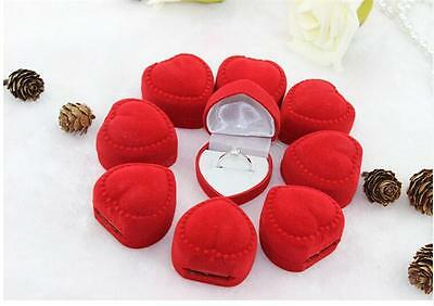 Quality 10pcs Romantic velet Red Heart Ring gift Boxes Jewelry Supplies SW fc