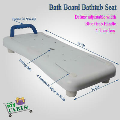 Free Post Deluxe adjustable Bath Board Bathtub Seat with Grab Handle