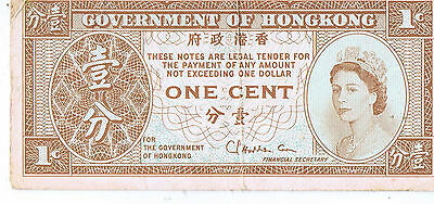 Money Note :Government of hong kong  one cent note