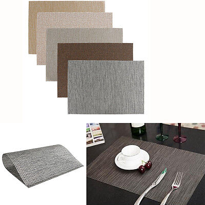 2/4/8pcs PVC Solid Heat Insulation Placemats Dining Table Pad Western Table Mats