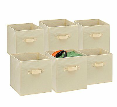 6PK Foldable Square Fabric Storage Bin Collapsible Box Kids Toy Organizer Cube