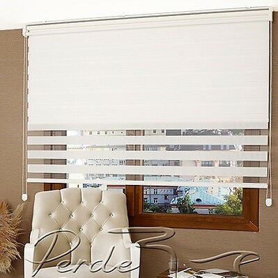 New! Front Zebra + Rear Shade ''2 in 1'' Roller Blinds Window Shade Double White