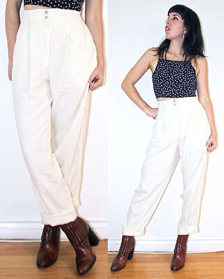 VTG 80s CREAM SILK High-Waisted Pants Trousers Raw Pleated Minimalist Annie Hall