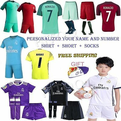 Football Soccer Home Away Jersey Kit Short Sleeve for 3-14Y Kids Boy Suit+socks