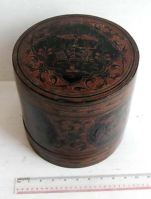 4pc 19th.c Black Lacquerware Betel Nut  Betelnut Box Dancer Design