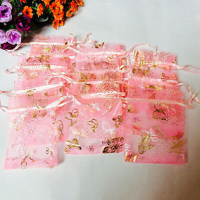 100 NEW Butterfly Drawstring Organza Bags Jewellery Candy Wedding Supplies GIFT