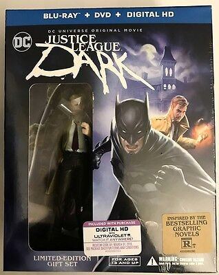 New Dc Justice League Dark Blu Ray Dvd + Digital Hd Slipcover Deluxe + Figurine