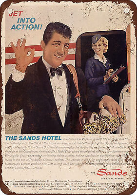 "1962 Dean Martin for the Sands Hotel Las Vegas 10"" x 7"" Reproduction Metal S"