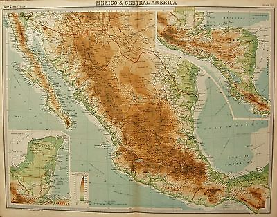 1920  Large  Map : Mexico And Central America