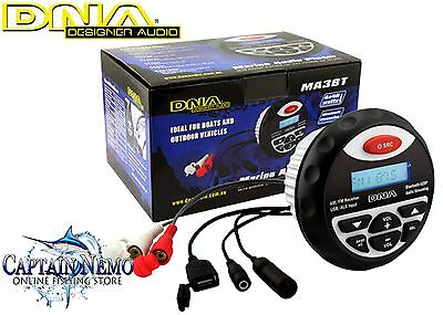 Dna Marine Bluetooth Usb / Mp3 Audio Player Am / Fm Waterproof Boat Radio  Ma3Bt