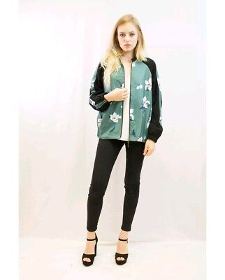 New Women ladies Floral printed Green  Bomber Jacket S/M, M/L