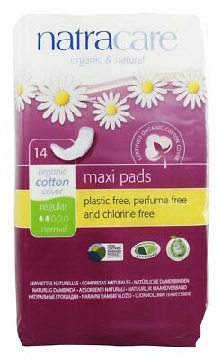 New Natracare Organic Cotton Natural Feminine Maxi Pads Regular-14 Ct Pack Of 8