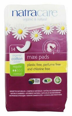 New Natracare Organic Cotton Natural Feminine Maxi Pads Regular-14 Ct Pack Of 12