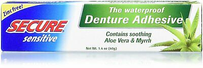 Secure Sensitive Waterproof Denture Adhesive - 1.4 Ounce (Pack Of 5)
