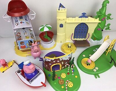 Peppa Pig Bundle Of Beach House Boat  Castle Playground Slide & Figures