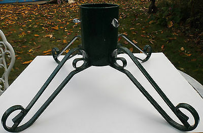 """large wrought iron metal real christmas tree stand green 3.75"""" max trunk size"""