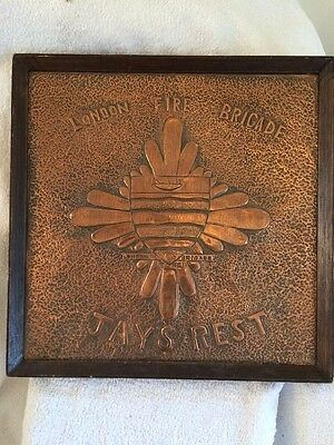 Stunning Unique London Fire Brigade Handmade Hammered Copper Plaque Jay's Rest