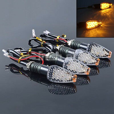 UK 4 x Universal Motorcycle 15 LED Turn Signal Indicator Light Amber Blinker