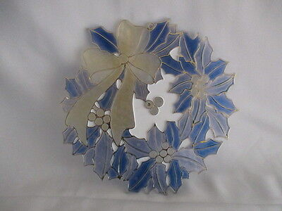 Vintage Acrylic Holiday Christmas Wreath Sun Catcher Blue, White & Gold