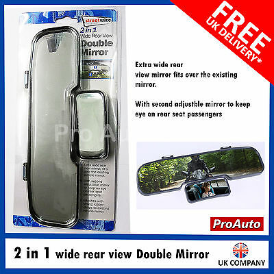 2 In 1 Car Wide Rear View Double Mirror Baby Child Learner Instructor Car Van