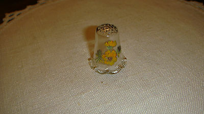 "Glass Thimble With Yellow Decal Flowers On Front Scalloped Edge, 1"" Tall"