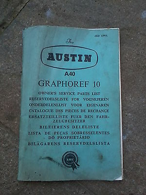 Austin A40 Farina Service Parts List  Graphoref 10  Bmc