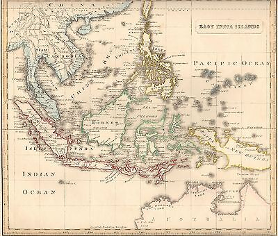 1848 Ca ANTIQUE  MAP-H/COL- EAST INDIA ISLANDS