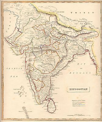 1848 Ca ANTIQUE  MAP-H/COL- HINDOOSTAN, INDIA