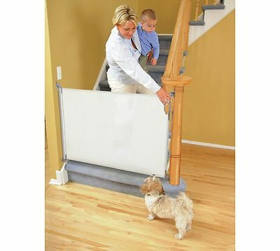 Kids Dreambaby Retractable Gate White Baby Stair Gate Wood 2 Way Opening New