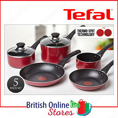Tefal A161S545 Bistro Red Thermo-Spot Non-Stick 5 Piece Sauce Pan Set Glass Lid
