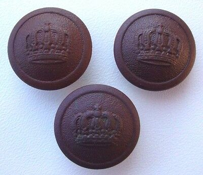 Lot of 3 WW1 German Army Uniform Buttons with Crown V