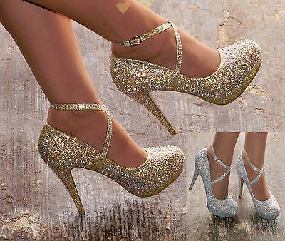Womens Diamante Detail High Heel Strappy Evening Party Shoes Sizes 3-8