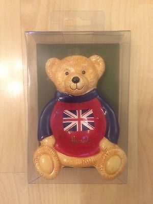 Harrods Union Jack Bear Hand Painted Tea Bag Tidy BNIB