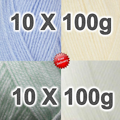 10 x 100g Robin Bonny Babe supersoft wool 100 gram balls 5 colours Knitting Yarn