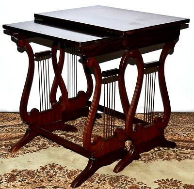 Antique Regency Style Lyre End mahogany Nest of Two(2) Coffee Tables [PL2018B]