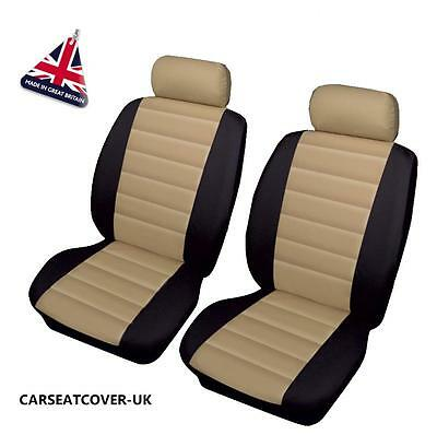 BMW 4-SERIES M4 - Front PAIR of Beige/Black LEATHER LOOK Car Seat Covers