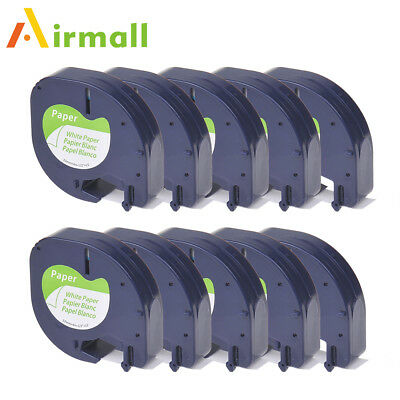 Compatible for DYMO LetraTag LT 91330 Ribbon Label Tape White Paper 12mm 10pk