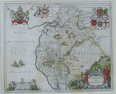 Cumberland: antique map by Johan Blaeu, 1645 and later
