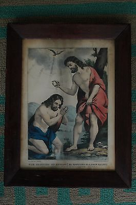 """Antique 19th Century Nathaniel Currier Lithograph """"The Baptism of Christ"""""""