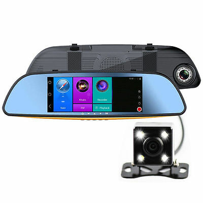 """7"""" Android Navigation Rear View Mirror GPS Car DVR Wireless Wifi Recorder HD"""